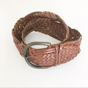Fossil brand woven leather brown boho belt size M
